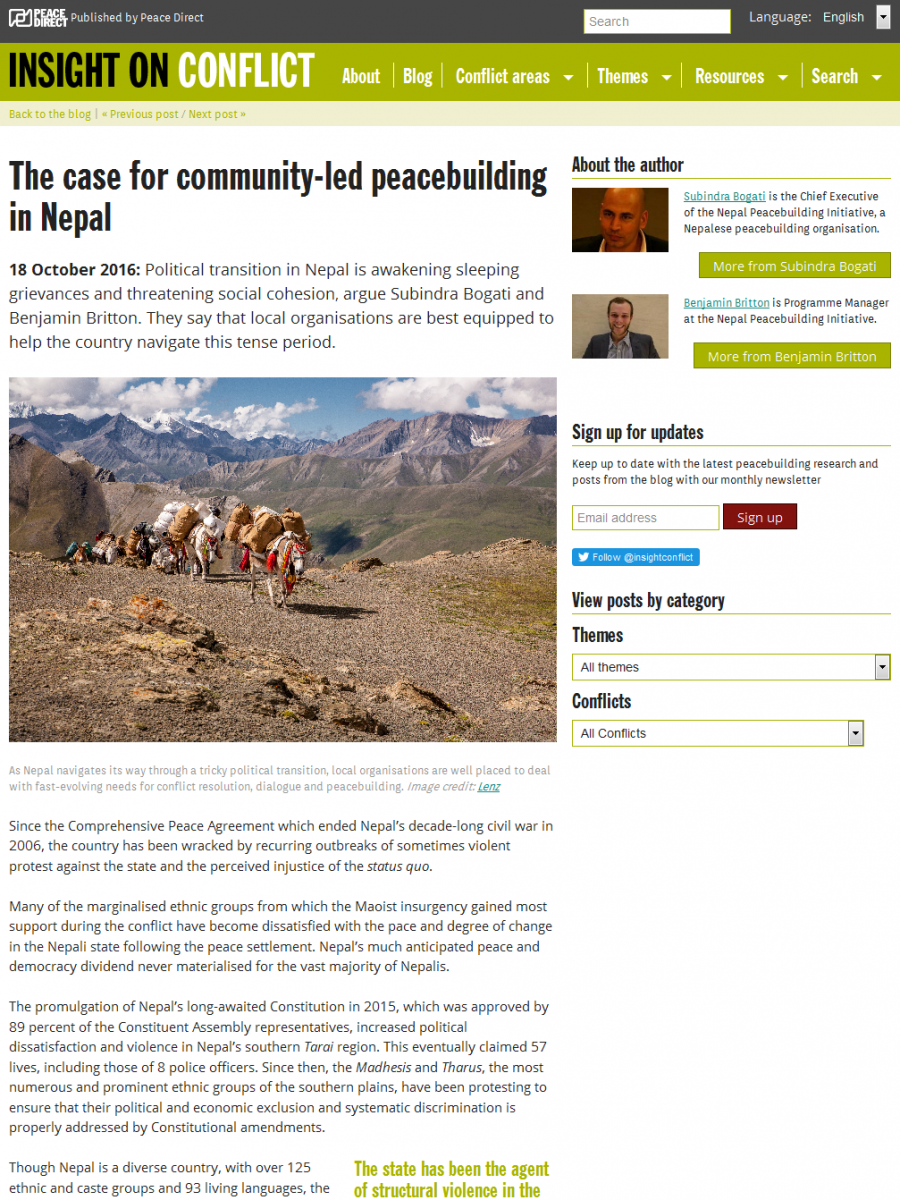 The case for community-led peacebuilding in Nepal