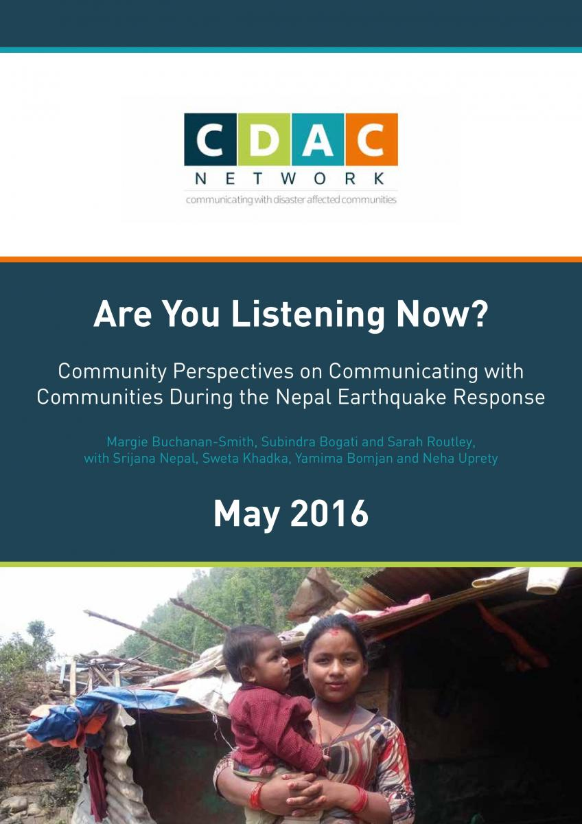 Are you Listening Now? Community Perspectives on Communication with Communities during the Nepal earthquake